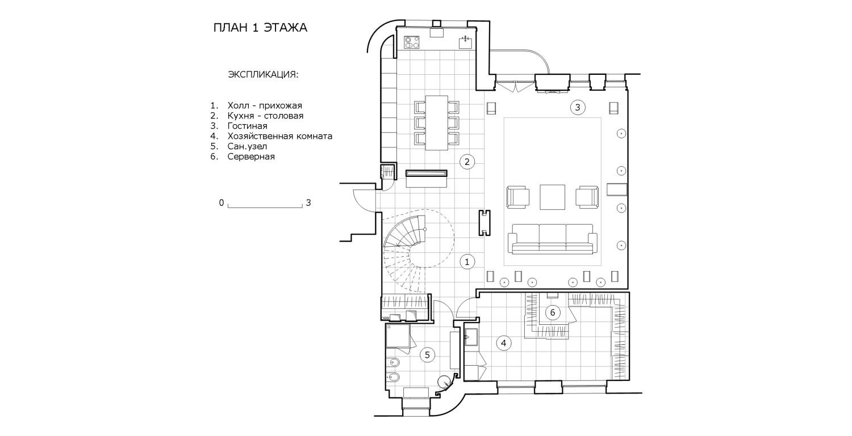 КВ Бюро Пентхаус на Большой Грузинской план 1 этажа