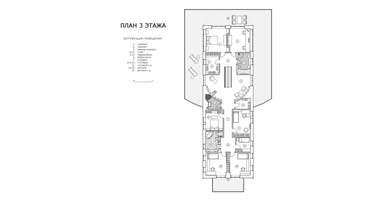 КВ Бюро Загородный дом в подмосковье Чиверево. План 3 этажа