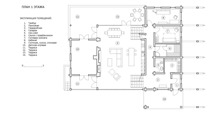 КВ Бюро Архитектурное бюро Дом из бруса План 1 этажа