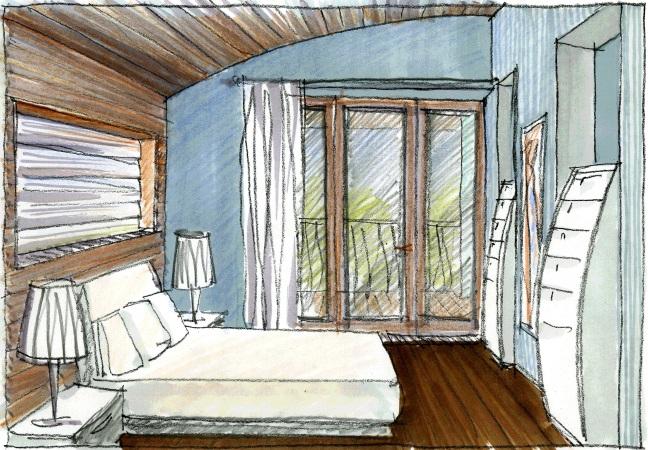 проект загородного дома зарисовка