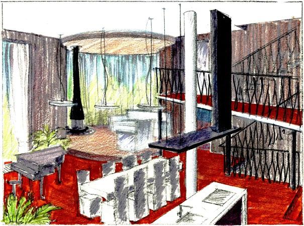 Зарисовка столовой в проекте загородного дома